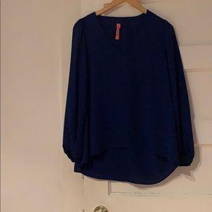 Blue v-neck blouse
